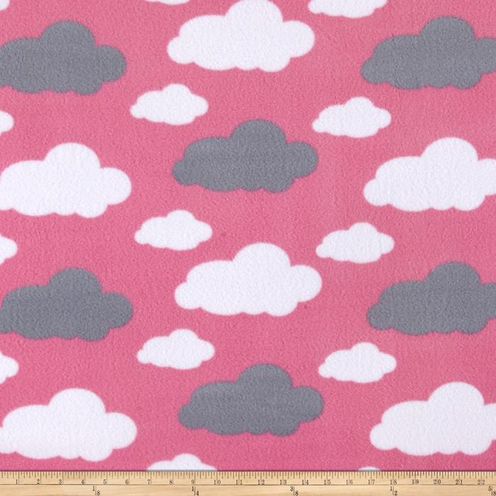 Simply Dreamy Clouds Fleece Pink Fabric By The Yard