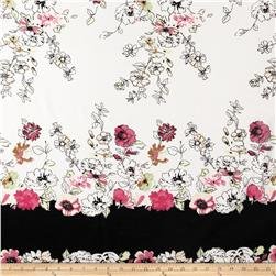 Polyester Voile Floral White/Raspberry