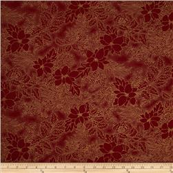 Moda Let it Glow Metallic 108 In. Quilt Back Poinsettia Crimson