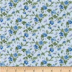 Afternoon In The Attic Flannel Dainty Blooms Bluebell