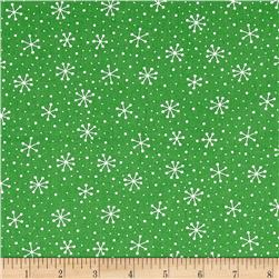 Moda Red Dot Green Dash Snowflakes Dots Evergreen