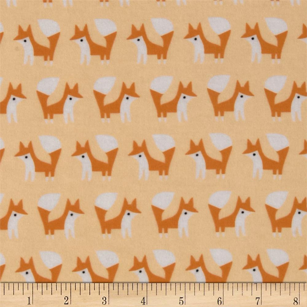 Cloud 9 Organic Fanfare Flannel Foxes Pink Fabric By The Yard