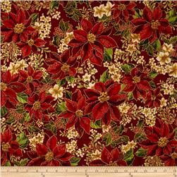 Robert Kaufman Holiday Flourish Metallic Poinsettias Crimson