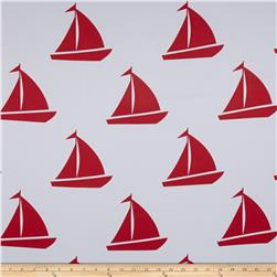 RCA Blackout Drapery Fabric Sailboats Red