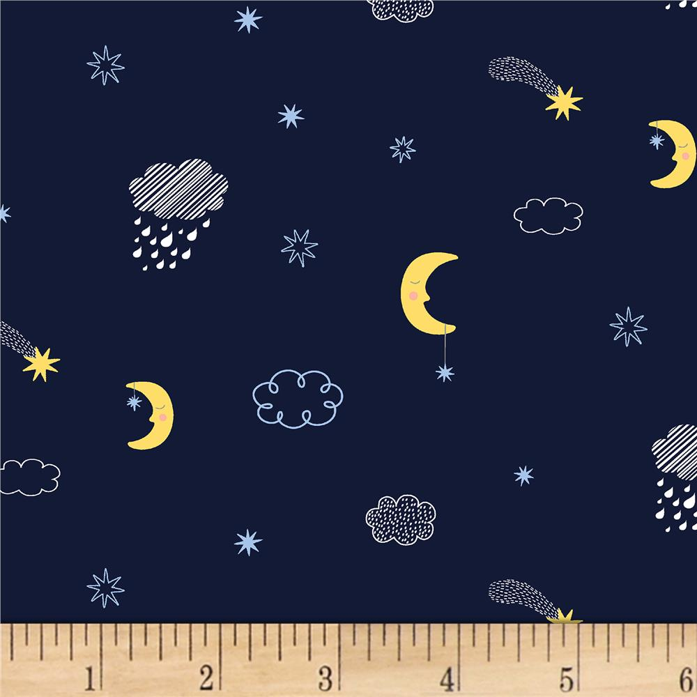 Dear stella luna moons clouds navy discount designer for Moon pattern fabric