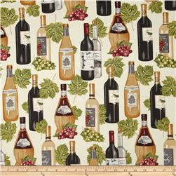 Vineyard Collection Wine Bottles & Leaves Ivory