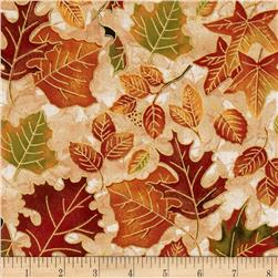 Autumn Treasures Packed Metallic Leaves Ivory