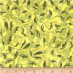 Velvet Blossoms Flannel Leaves Green