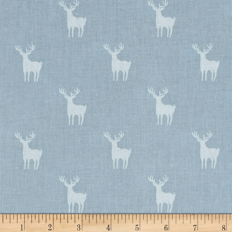 Meadow Deer Blue Fabric by Eugene in USA