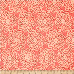 Floral Novelty Lace Knit Coral Pink
