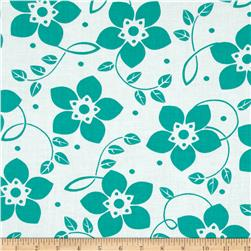 Contempo Brigitte Small Bloom Turquoise/White Fabric