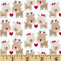 Riley Blake Home for the Holidays Flannel Deer White