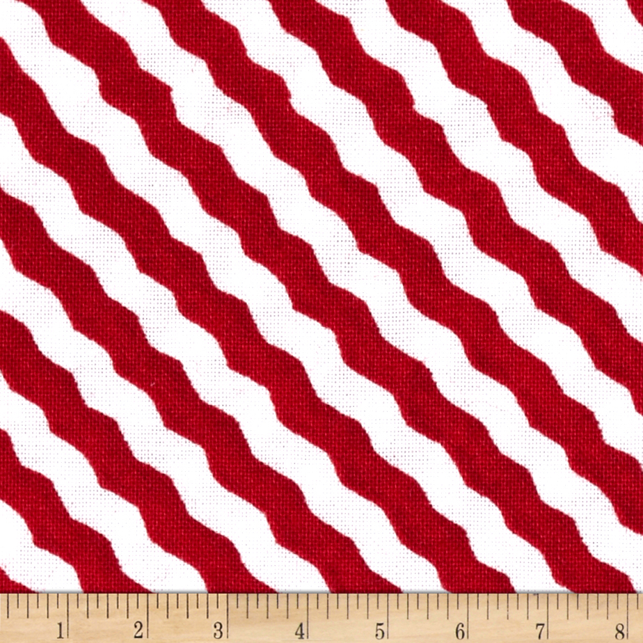 Snow Magic Scarf Stripe Red Fabric