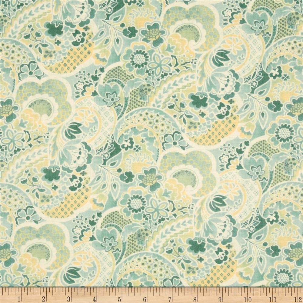 Moda Mimi Flower Collage Aqua