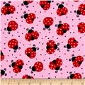 Timeless Treasures Flannel Bugtopia Ladybugs Pink