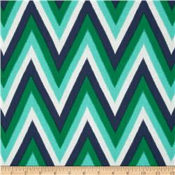 Moda Color Me Happy Ikat Chevron Navy/Emerald Fabric