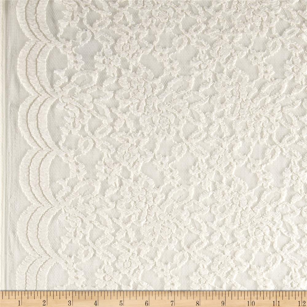 Border Cotton Blend Floral Lace Vanilla