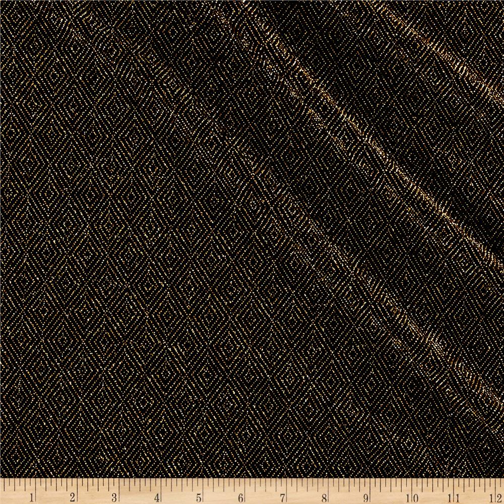 Telio stretch nylon knit metallic diamond gold black for Black fabric