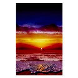 Hoffman Paradise Digital Print Ocean View Boat Sunset