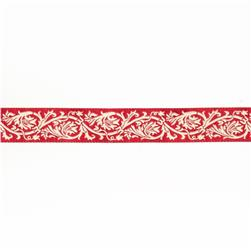 "7/8""French General Ecru Scroll on Red"