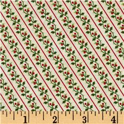 Windham Yuletide Memories Holly Stripe Cream