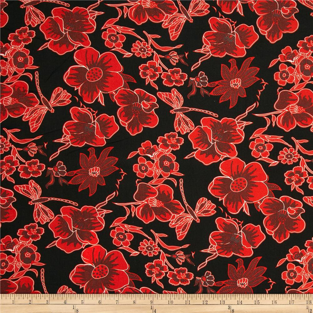 Poly Challis Floral Red/Black - Discount Designer Fabric ...