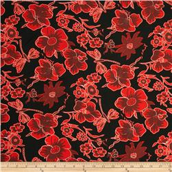 Poly Challis Floral Red/Black