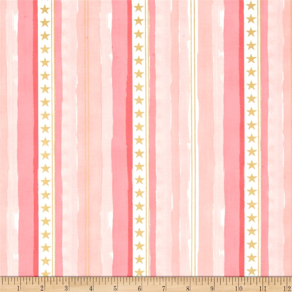 Michael Miller Sarah Jane Magic Metallic Stars and Stripes Pink