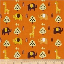Happy Jungle Junge Animals Tossed Elephants/Giraffes Orange
