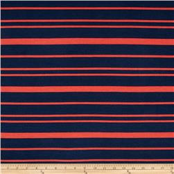 Designed Rayon Ponte Roma Knit Stripes Coral/Navy