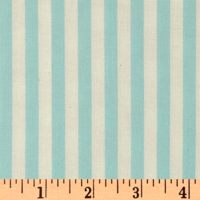 Michael Miller Retro Clown Stripe Aqua Fabric