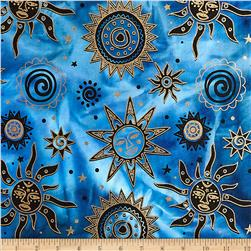 Indian Batik Odyssey Gold Sun Blue/Black