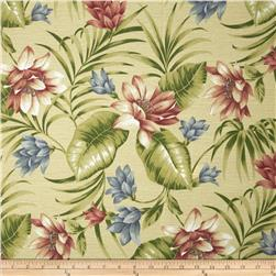 Tempo Indoor/Outdoor Tropical Flowers Tan/Pink/Blue Fabric