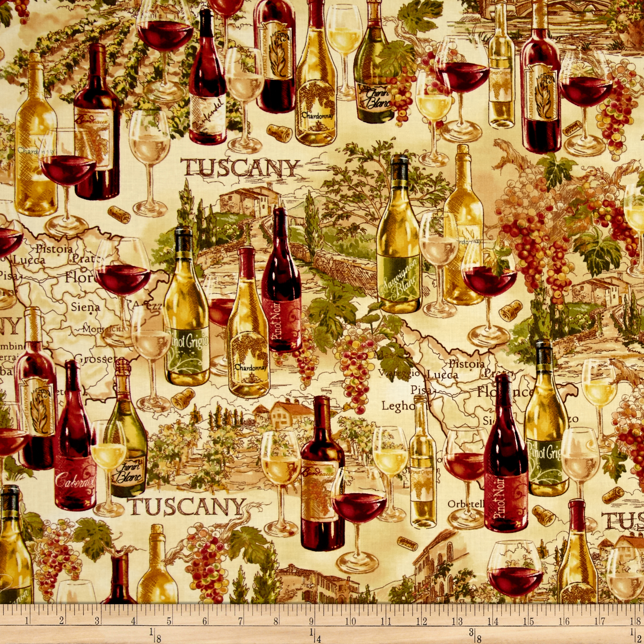 Timeless Treasures  Vineyard Map Tan Fabric