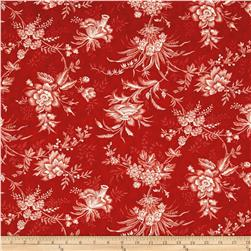 "Moda Snowberry Prints 108"" Quilt Back Floral Toile Berry"