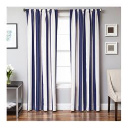 Sunbrella 96'' Rod Pocket Stripe Outdoor Panel Natural/Navy