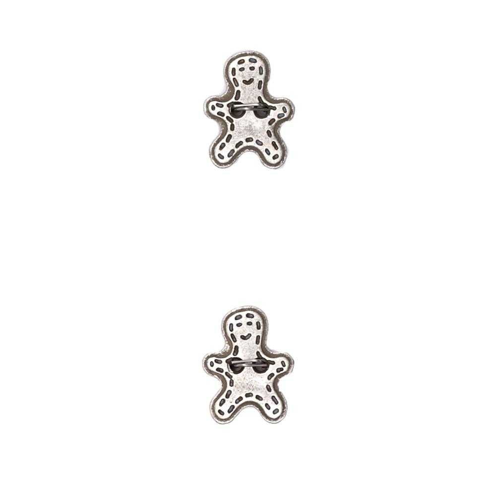 "Metalized Button 5/8"" Mini Gingerbread Man Silver"