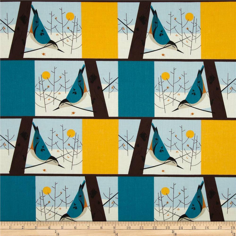 Birch Organic Charley Harper White Breasted Nuthatch Multi
