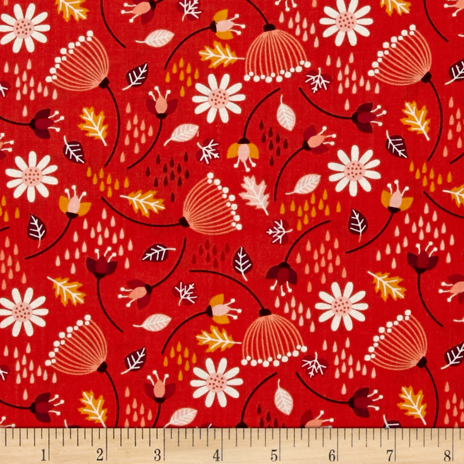 Camelot Enchanted Seed Pods Red-orange Fabric