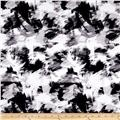 Bloom Stretch Cotton Sateen Brush Strokes Print Black