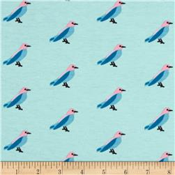 Riley Blake Cotton Jersey Knit Idle Wild Birds Blue