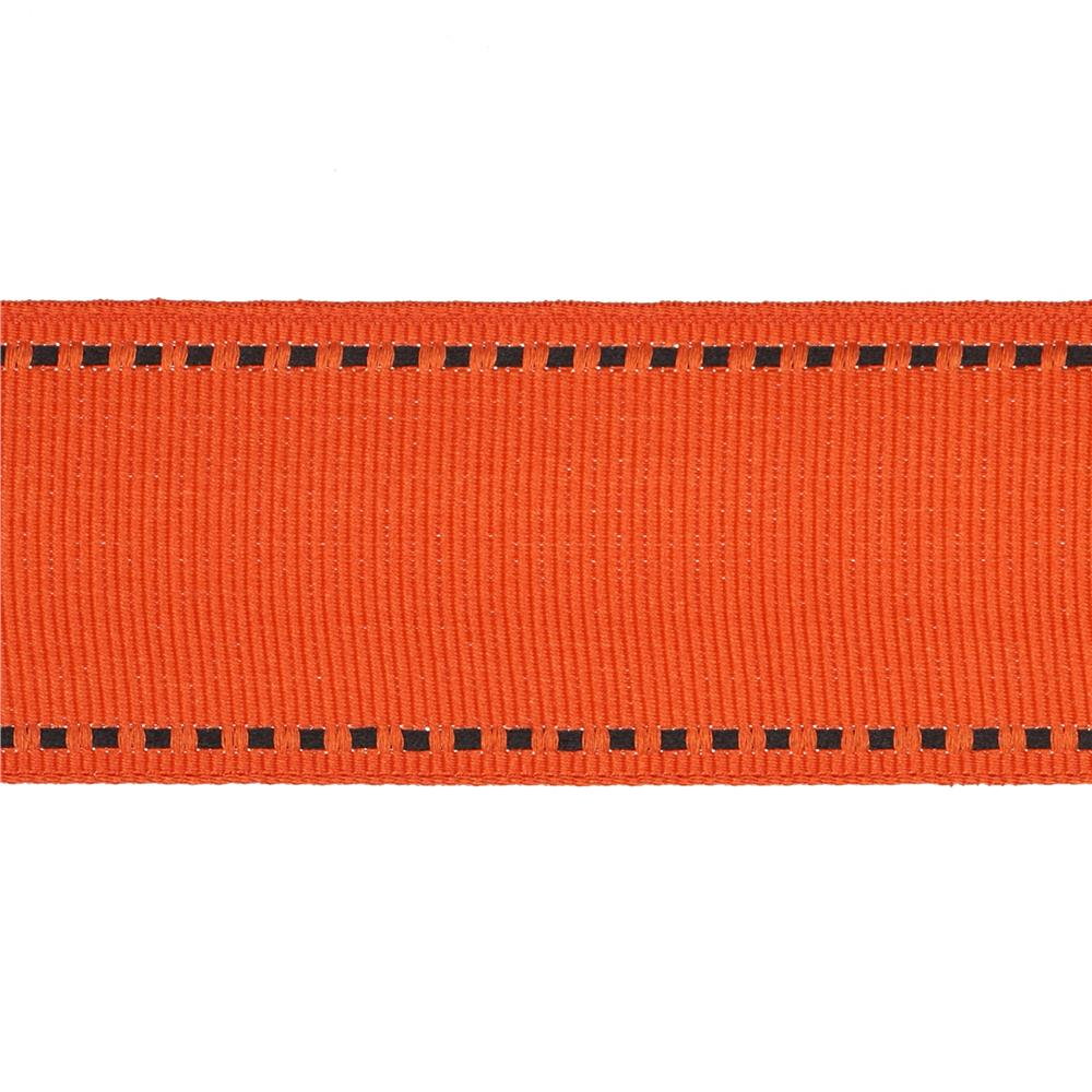"May Arts 1 1/2"" Grosgrain Stitched Edge Ribbon Spool Orange/Black"