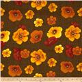Windflower Flannel Tossed Poppies Brown