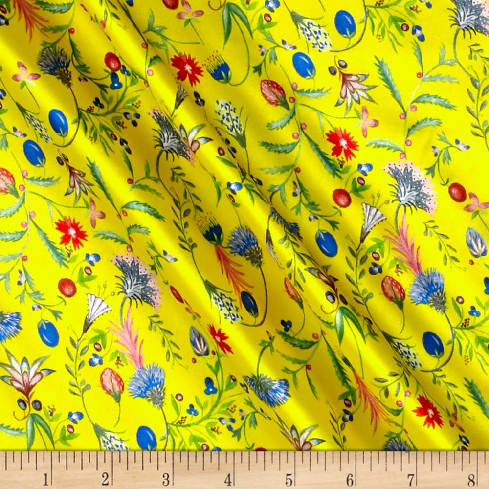Liberty Fabrics Belgravia Silk Satin Temptation Meadow Yellow/Pink/Blue