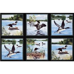 North American Wildlife Loon Island 24 In. Panel Black