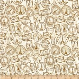 Destination Paris Stamps Cream