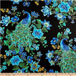 Plume Peacocks Multi/Black Fabric