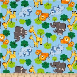 Camelot Flannel Zoo Animals Blue