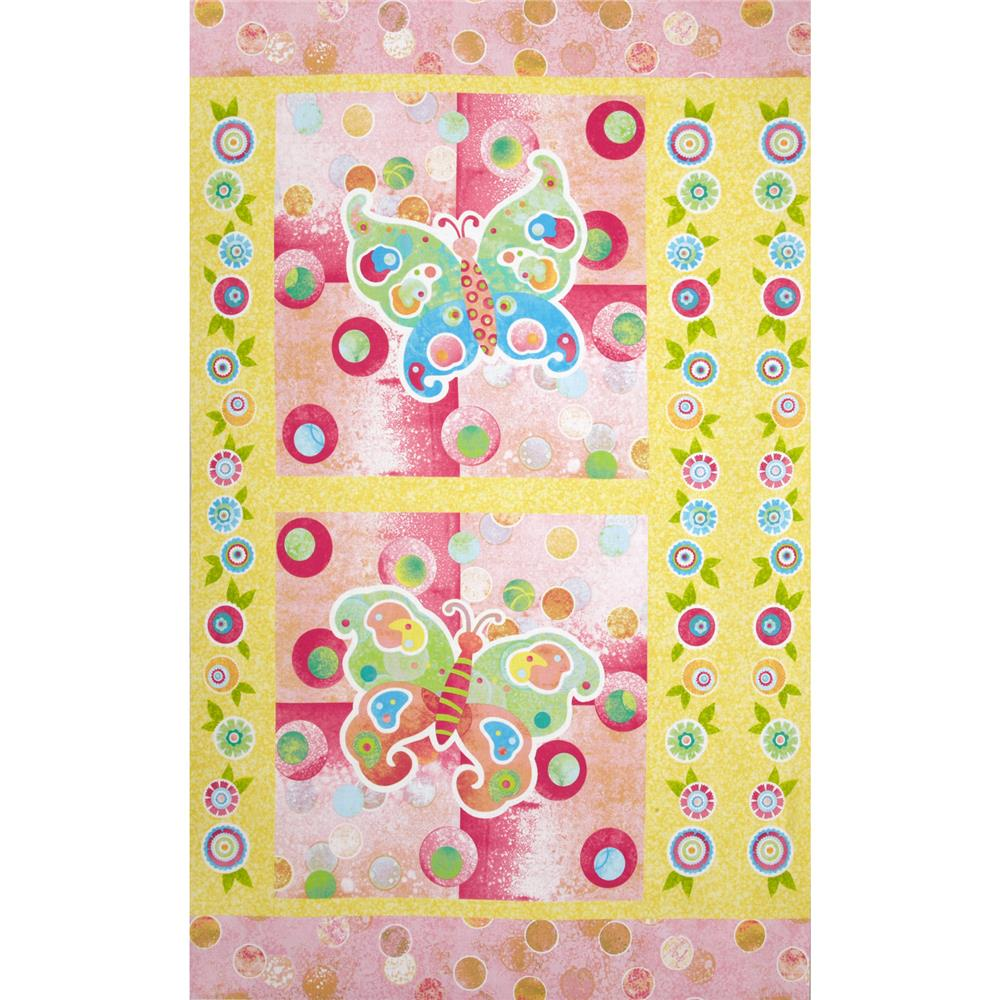 "The Garden Club Butterfly 24"" Panel Turquoise/Pink"