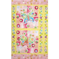 The Garden Club Butterfly 24'' Panel Turquoise/Pink Fabric